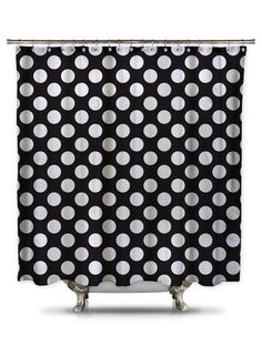 Black And White Polka Dot Fabric Shower Curtain
