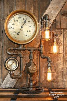 Steampunk Gauge Gear Lamp
