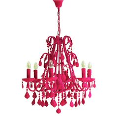 Flocked Hot Pink Chandelier - Johnny Egg: *grin*  I like  (the link keeps failing.... so try: http://www.heals.co.uk  then select lighting, then Pendants and finally Chandeliers)