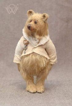Flossy By Olga Vishnevetskaya - Flossy is a one of a kind teddy bear. Needle Felted Animals, Felt Animals, Teddy Toys, Sock Toys, 3d Figures, Love Bear, Bear Doll, Pet Toys, Art Dolls