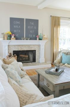 Easy Spring Decorating Ideas {City Farmhouse} Mantle Decorated With Chalkboard Sign, Fresh Flowers & touches of Robins Egg Blue ( Love this living room! Decor, House Styles, Simple Decor, House Design, Simple House, City Farmhouse, Home Remodeling, Spring Farmhouse Decorating, Home Decor