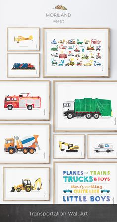 Digger Print, Construction Art Print, Alphabet Print, Alphabet Transportation Poster, Horizontal, ABC Poster, Nursery Alphabet Wall Decor, Planes Trains Truck and Toys Print, Big Boy Room, Piper Art, Diesel Train Wall Art, Locomotive, Garbage Truck Print, Toddler Room Decor, Truck Print, Transportation Wall Art, Birthday Printable, Instant Download, Watercolor, Wall Decor, Ideas, Bedroom, Playroom Vehicles, Birthday Party Decorations, Edible Paper for Cake, DIY, Signs. By MORILAND Wall Art