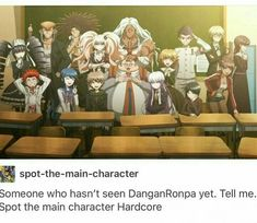 okay funny post but naegi is adorable im cryign look at his happy face! Danganronpa Funny, Super Danganronpa, Spot The Main Character, Danganronpa Trigger Happy Havoc, Only Play, Your Turn, Manga, Me Me Me Anime, Wattpad