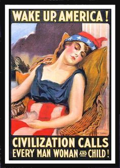 vintage war poster of lady liberty asleep.