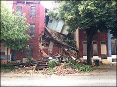 City officials say this vacant row house collapsed Friday morning. Click here to find out where this row hose was located.