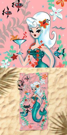 Cute Beach Towel featuring a Mid Century mod inspired mermaid and mermaid kitty drinking martinis! Original Art by Claudette Barjoud, a.k.a Miss Fluff. www.missfluff.com #mermaidart #vintagemermaid #mermaidbeachtowel #missfluff