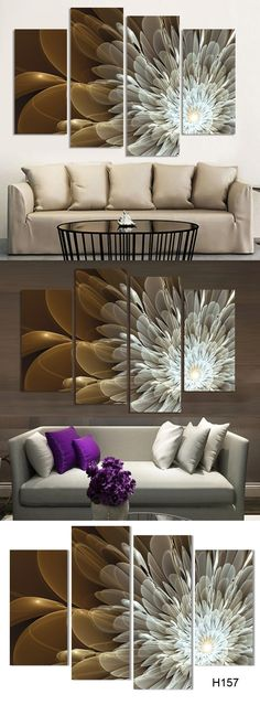 4Panel Canvas Wall Painting Wealth And Luxury Golden Flowers Art Picture Home Decor On Canvas Modern Wall Painting $36