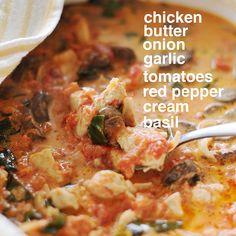 prettypalate: Dinner | Chicken in Tomato Basil Cream. Could probably sub cream for cashew or coconut milk.