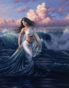 RAN - she was the JOTUN goddess of the sea and wife of AEGIR, the JOTUN Lord of the Sea. She and AEGIRr had nine beautiful daughters called 'The Waves'), each of which represented a different type of wave. RAN carries a large magical net, which she uses to catch both fish and men. RAN and her family lived in an undersea cave lined with gold.