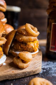 Kickin' Cajun Chicken Sliders with Beer Battered Onion Rings