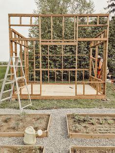 How I Built my Dream Greenhouse - Arrows & Twine Outdoor Greenhouse, Backyard Greenhouse, Greenhouse Plans, Backyard Sheds, Backyard Landscaping, Outdoor Gardens, Building A Garage, Building Plans, Farmhouse Garden