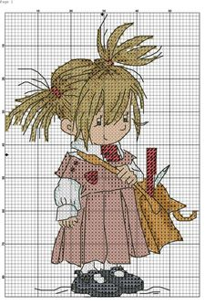 Go to school cross stitch Cross Stitch For Kids, Cute Cross Stitch, Beaded Cross Stitch, Cross Stitch Alphabet, Cross Stitch Kits, Cross Stitch Charts, Cross Stitch Designs, Cross Stitch Embroidery, Embroidery Patterns