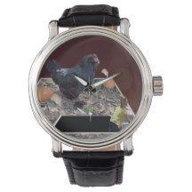 Giant_Chicken_Egg_Crush_Mens_Leather_Vintage_Watch Wrist Watch