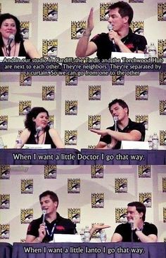 """HAHA : Torchwood joke John Barrowman, Can I please just be a female Captain Jack? He is so cute when Jack mentions him! I wonder if there is any real Janto though.""""When I want a little Ianto"""" John Barrowman, Doctor Who, Twelfth Doctor, Space Man, Captain Jack Harkness, Star Wars, Don't Blink, Actors, David Tennant"""