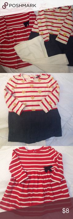 Baby gap dresses with leggings Soft cute Baby Gap dresses size 12-18 months. Have a pair of baby gap leggings to go with either dress. Only wore each dress once or twice! GAP Dresses Casual
