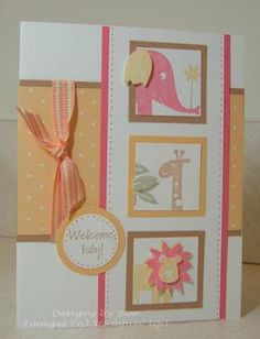 Wild About You images of elephant, giraffe and lion are here to welcome the new baby!  Paper piercing, circles and squares are also used on this handmade card.