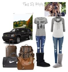 """""""On the Road with UGG: Contest Entry"""" by nicola-882 ❤ liked on Polyvore featuring Topshop, Frame Denim, UGG Australia, ONLY, maurices, Louis Vuitton, NIKE and Michael Kors"""