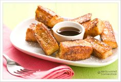 Hawaiian french toast sticks - super easy and what a fun twist to dinner.  Kid approved, husband approved - served with turkey sausage with a sweet orange glaze.