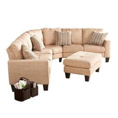 Hand-picked by interior designer Elissa Grayer, this eye-catching style brings classic charm and contemporary allure to your home d�cor.   Product: 1 Sofa1 loveseat1 wedge 1 ottoman4 throw pillowsConstruction Material: Wood, fabric and foamColor: BeigeDimensions: Pillows: 16 x 16 eachSofa: 34 H x 77 W x 30 DLoveseat: 34 H x 55.5 W x 30 DWedge: 34 H x 57 W x 31 DOttoman: 18 H x 34 W x 23 D