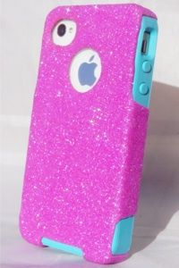 Custom Glitter Otterbox iPhone 4S Bubblegum Pink/Teal #otterbox #glitter #sparkle