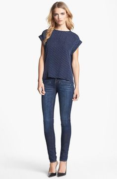 Casual Saturday style. Theory Top & Vince Skinny Jeans.