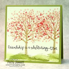 Stampin' Up! Sheltering Tree Spring handmade note card by Patty Bennett. #stampinup