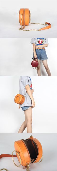 Handmade Full Grain Leather Cross Body Bag Leather Round Bag Women Shoulder Leather Bag
