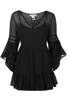 Chiffon Bell Sleeve Dress by Band of Gypsies Topshop Bohemian Chic ~SheWolf☆