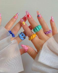 Fimo Ring, Polymer Clay Ring, Resin Ring, Best Acrylic Nails, Acrylic Nail Designs, Funky Nail Designs, Heart Nail Designs, Acrylic Resin, Nagellack Design