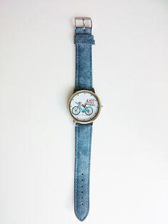 Zegarek jeansowy rower- prezent - barbarella-br - Zegarki na rękę