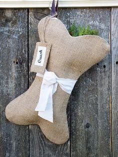 Dog Christmas stocking bone shaped burlap