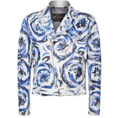 19cd34d5341f Versace Painted Leather Biker Jacket ($4,800) ❤ liked on Polyvore featuring  men's fashion,