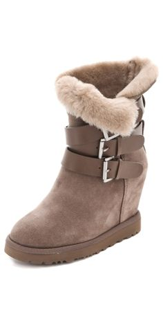 Yes Shearling Wedge Boots by msochic