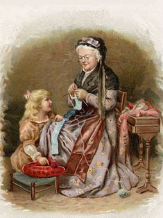 Grandma teaching a child to knit