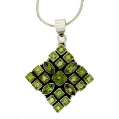 "Purple Leopard Boutique - Large Faceted Green Peridot Sterling Silver Pendant with 18"" Chain, $135.00 (http://www.purpleleopardboutique.com/large-faceted-green-peridot-sterling-silver-pendant-with-18-chain/)"