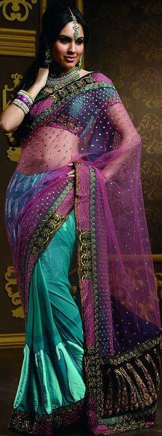 Sky Blue Light Pink Brasso Designer Saree 2532 With Unstitch Blouse