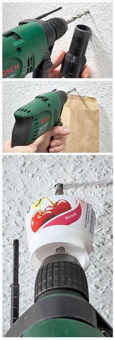 Bohren ganz ohne Stau – das geht. Wir zeigen verschiedene Methoden, wie man ein Loch bohren kann, ohne nachher putzen zu müssen.