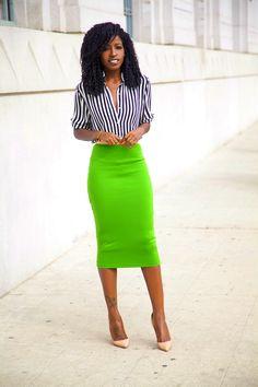 Structured Blazer + Striped Shirt + Pencil Skirt