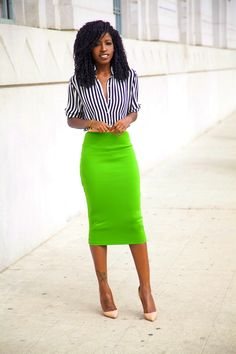 Neon Green paired with Navy/White stripes