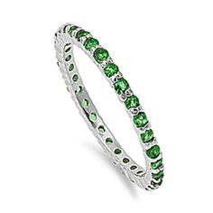 Sterling Silver Emerald Green CZ Stackable Eternity Band Ring (Size 6)