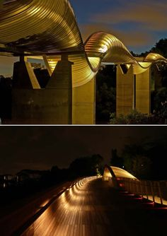 Henderson Waves At a height of 36 metres or 12 storeys from the road, it is the highest pedestrian bridge in Singapore. The 300-metre bridge links up the parks at Mount Faber and Telok Blangah Hill.