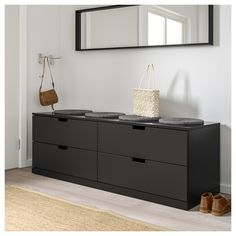 IKEA - NORDLI, dresser, anthracite, You can use one modular chest of drawers or combine several to get a storage solution that perfectly suits your space. You can easily create your own personal design by mixing chests of different colors. Corner Dresser, 8 Drawer Dresser, Blue Dresser, Double Dresser, Bench With Drawers, Bedroom Chest Of Drawers, Nordli Ikea, Bedroom Storage For Small Rooms, Ikea Bank