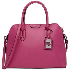 Lauren Ralph Lauren Tate Dome Satchel (€205) ❤ liked on Polyvore featuring bags, handbags, raspberry rose, purple leather handbag, real leather handbags, leather purse, 100 leather handbags and leather dome satchel