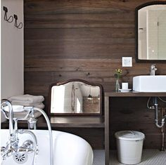 Rustic Chic Bathroom!  Love the reclaimed wood wall!