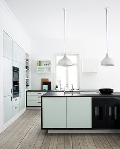 mint green + black kitchen