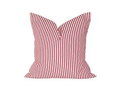 "18"" x 18"" Designer Pillow Cover / Decorative Throw Pillow / Accent Cushion Cover / Pillow Case (Red and White Pinstripes)"