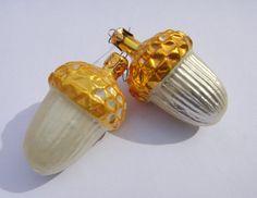 Two Acorn Christmas Ornament German Glass Vintage by AskMeDecor, $16.00