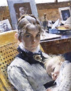 Carl Larrsson (Swedish Realist Painter, 1853-1919) A Studio Idyll. The artist's wife with daughter Suzanne