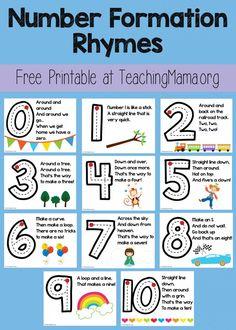 Free Printable Number Formation Rhymes