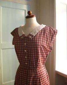 1950s cotton plaid day dress - S